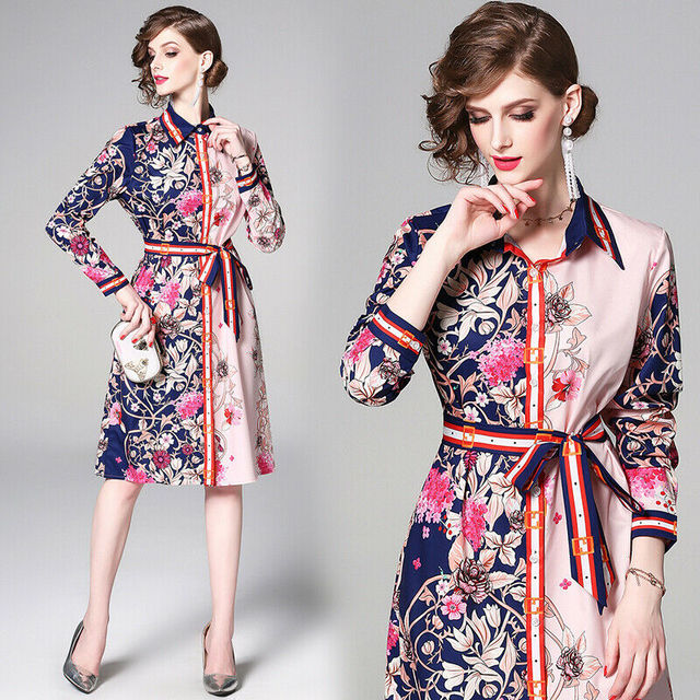 womens woman ladies Designer Vintage print Floral runway shirt party office work Casual Cocktail office work wear dress clothes