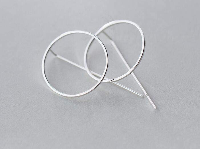 exaggerated lady's new 1Pair REAL. 925 Sterling Silver Jewelry Circle &Bar Geometric Long Earrings Dangle Drop GTLE1476