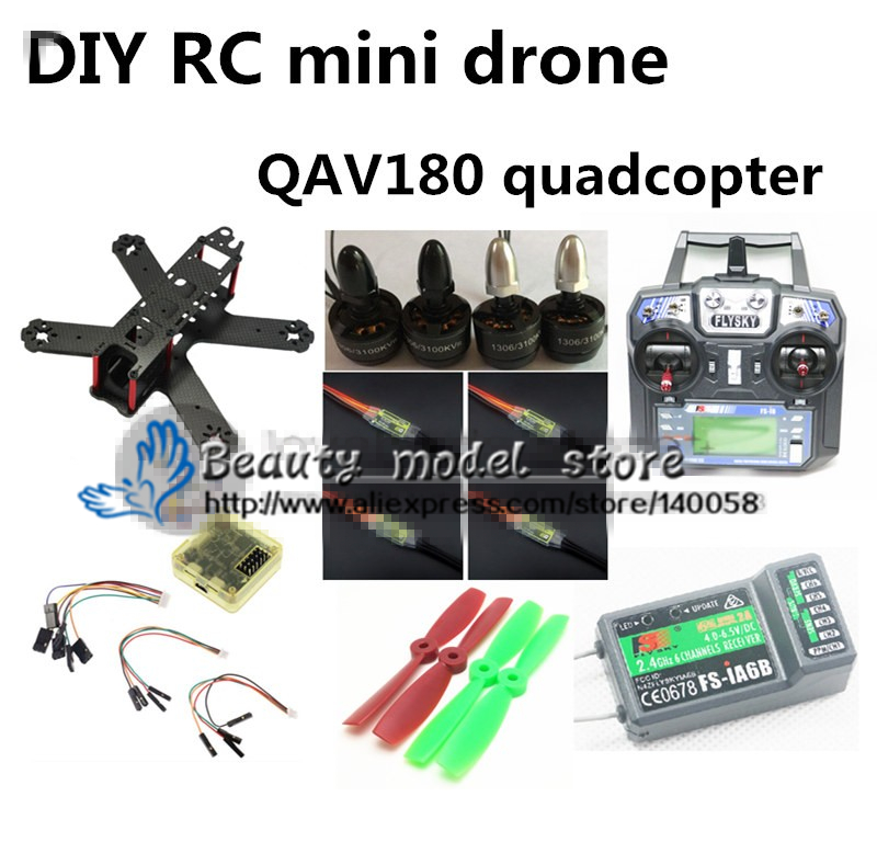DIY FPV mini drone QAV180 RC cross race quadcopter kit & RTF pure carbon CC3D + 1306 + BLheli 6A ESC + FLYSKY FS-i6 + iA6B