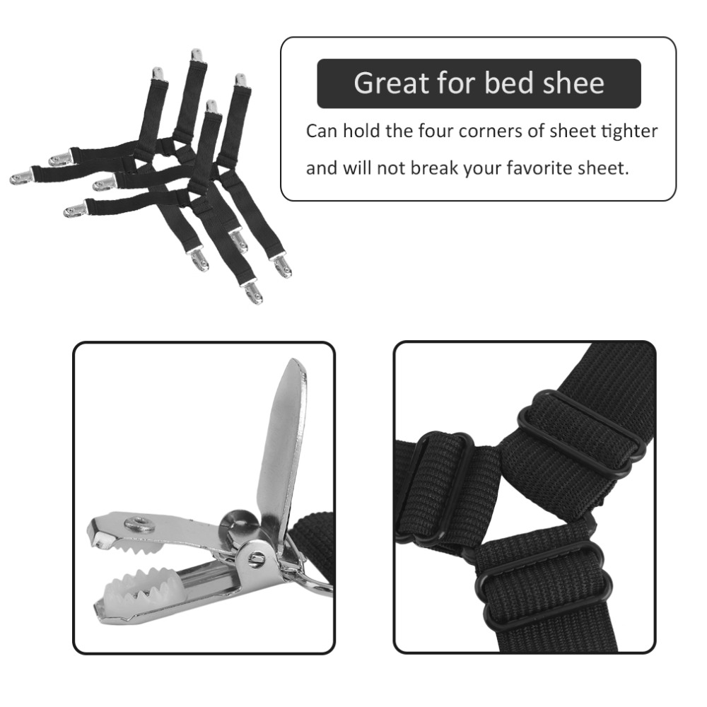 4pcs/set Multifunctional Shape Bed Sheet Fasteners High Elastic Bed Sheet Fastener Grippers Clip Suspender Homehold