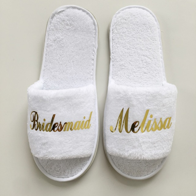 5 pair lot wholesales Personalized Bride Bridesmaid Groom Groomsman gifts Hens Night Bachelorette party Spa Slippers for guests