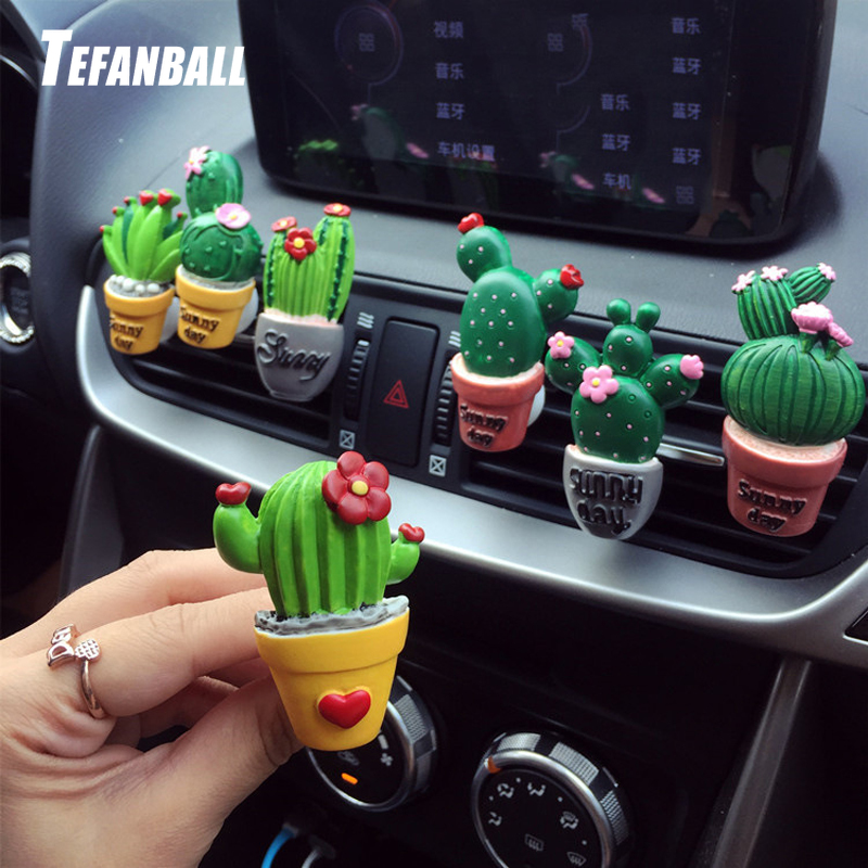 Car Air Conditioning Vent Perfume Clip Resin Cactus Creative Cute Air Freshener Fragrance Clip Solid Balm Decoration Ornaments-in Ornaments from Automobiles & Motorcycles