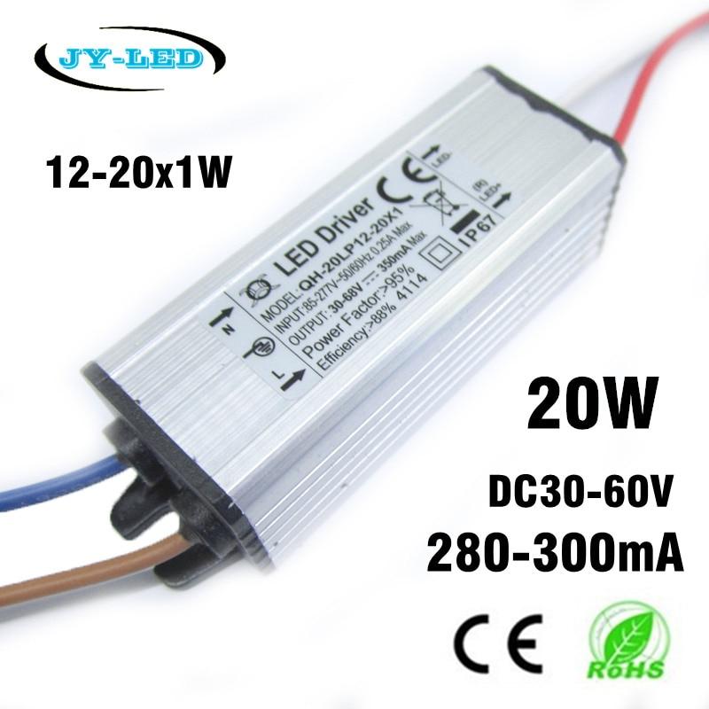 2db 20W-os nagy teljesítményű LED-es meghajtó 12-20x1W 280mA 300mA DC30-68V vízálló IP67 állandó áramú alumínium LED tápegység