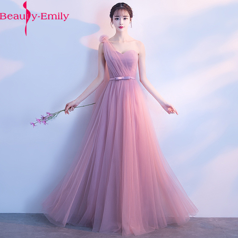 Fashion Lace up Back Long   Bridesmaid     Dresses   2019 Elegant Dust Pink Chiffon   Dress   with Bow O Neck Sleeveless Wedding Guest   Dress