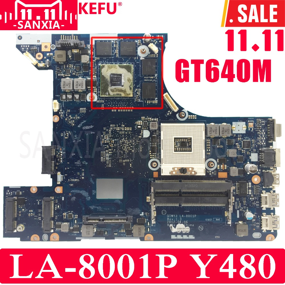 KEFU QIWY3 LA-8001P Laptop motherboard for Lenovo Y480 Test original mainboard GT640M nokotion qiwy3 la 8001p main board for lenovo y480 laptop motherboard gt640m 2gb graphics full tested