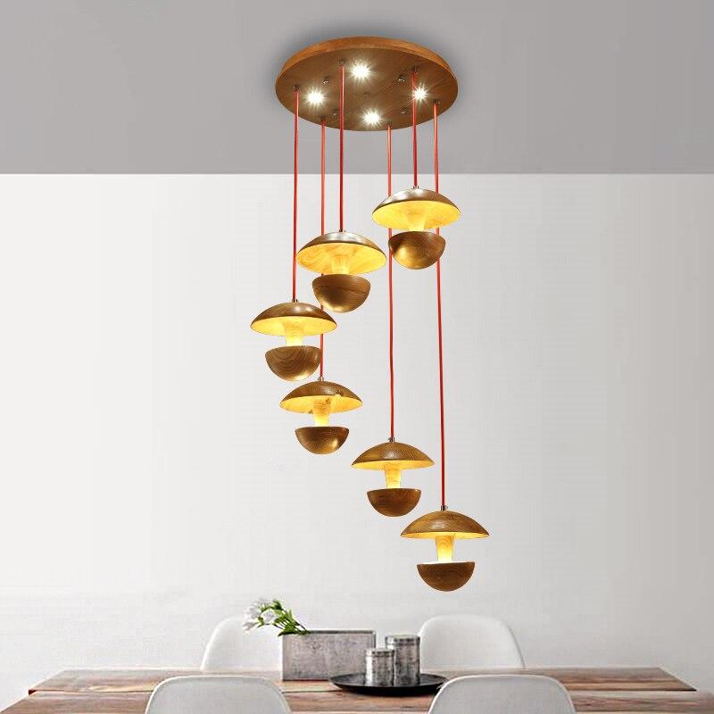 Personalisierte Kronleuchter IKEA Kreative Mushroom Modellierung Lampe Restaurant Lichter Wohnzimmer Leuchtet Holz Handwerk Pend