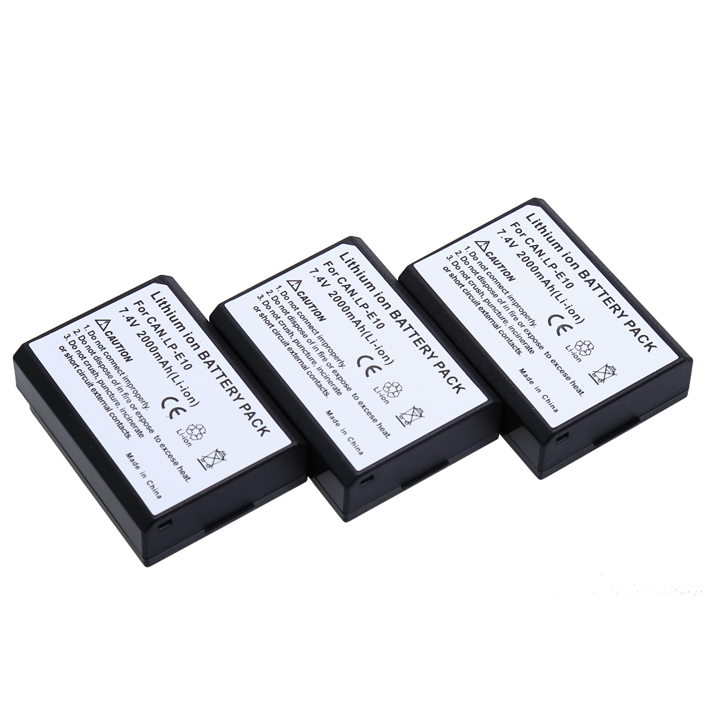 AOPULY 3Pcs 2000mAh LP-E10 Bateria LP E10 LPE10 Camera Battery For Canon EOS 1100D 1200D 1300D Kiss X50 X70 X80 Rebel T3 T5 T6