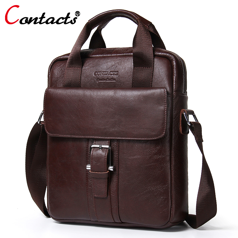 CONTACT'S Men bag Genuine Leather Men Shoulder Bags Handbags Large Capacity Male messenger bag Briefcases Laptop Crossbody Bags