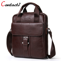 CONTACT S Men Bag Genuine Leather Men Shoulder Bags Handbags Large Capacity Male Messenger Bag Briefcases