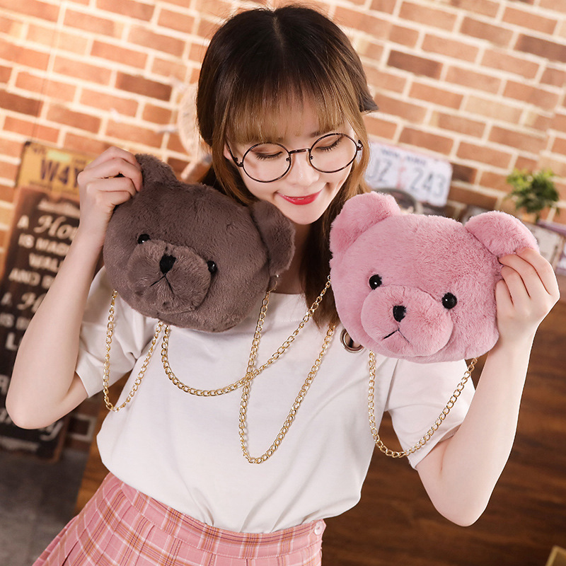 Cute Plush Teddy Bear Backpack Shoulder Crossbody Bag 2 Colors Stuffed Bear Toy Children Girls Coin Purse Gift Kids Toy