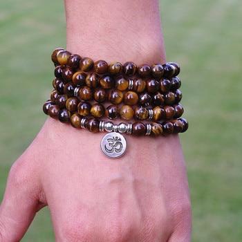 Женские и мужские украшения, 8 мм тибетские камни в виде тигрового глаза, браслет ручной работы из нитей Ом 108 малы, браслет для йоги или ожерелье