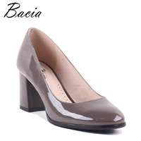 Bacia Classics Full Grain Leather Thick Heels Genuine Leather Shallow Round Toe Pumps High Heel Quality