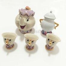 Горячая Распродажа, чайный набор с героями мультфильмов Красавица и чудовище, Mrs Potts, чайный горшок, чашка с чипом, сахарница, набор кофейников, чайник, подарок на день рождения, Рождество
