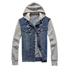 Denim Hip Hop Jacket Men Hooded Harajuku Sportswear Vintage Casual Jeans Jackets  Streetwear Hoodies Cowboy Mens Jacket Coat 5XL недорого