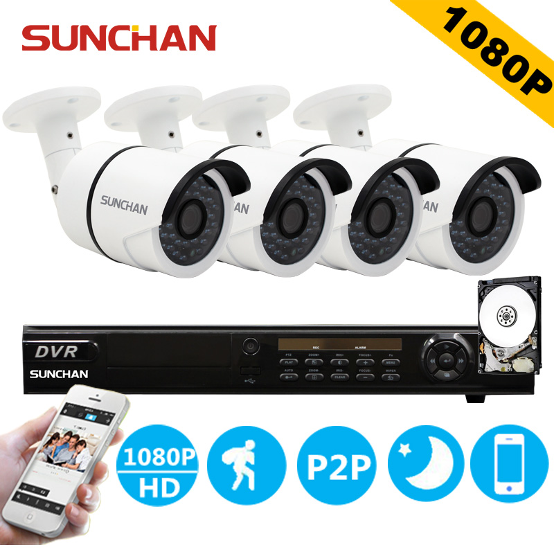 SUNCHAN Security Camera System 8CH CCTV System 4 X 1080P SONY Outdoor Waterproof Surveillance System Camaras