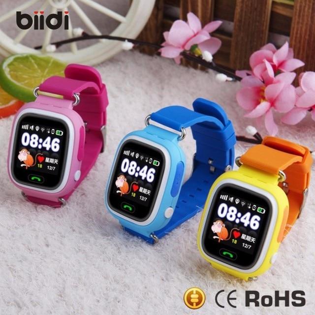 Бесплатная Доставка GPS smart watch детские часы Q90 с Wi-Fi сенсорный экран SOS Вызова Расположение DeviceTracker для Kid Safe Anti-Потерянный Monit