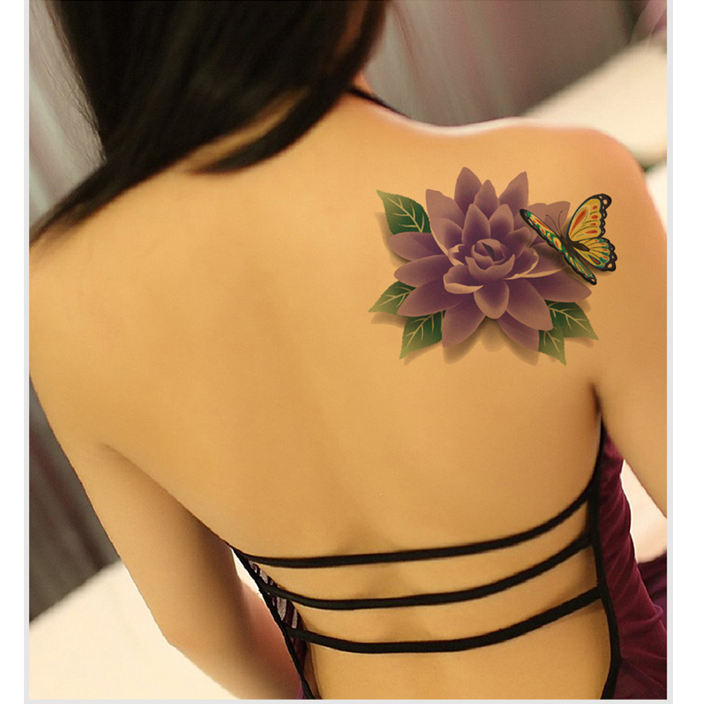 3 pcs 3d borboleta mulheres sexy back etiqueta do tatuagem for Hot female back tattoos