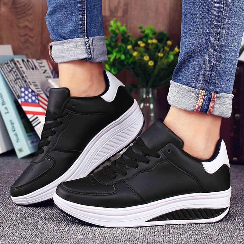 4a9703ca Verano zapatillas de las mujeres zapatillas de deporte de la Femme tenis  Femenino de plataforma de cuñas zapatos de mujer zapatos blanco zapatos ...