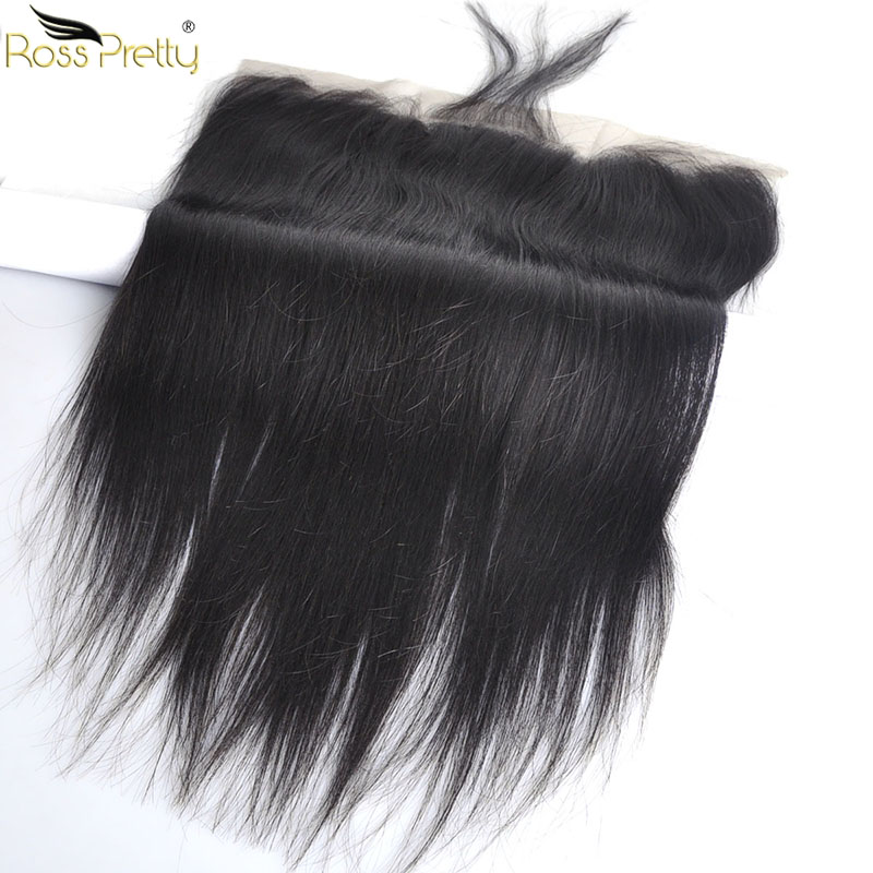 Ross Pretty Peruvain Remy Hair Lace Frontal Natural Color Black Human Hair 13x4 Lace Closure Ear To Ear Pre Plucked