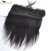 Ross Pretty Peruvain Remy Hair Lace Frontal Natural Color black Human Hair 13x4 Lace Closure ear to ear Pre Plucked(China)