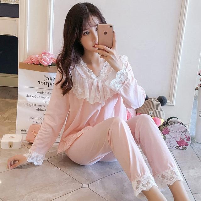 Pajamas female spring autumn Sexy Princess breeze Korean version fresh student long sleeved pure cotton two piece winter suit