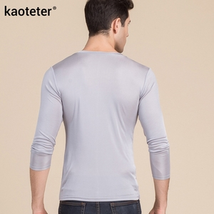 Image 2 - 100% gerçek ipek erkek t shirt sonbahar kış tam uzun kollu V boyun adam vahşi siyah beyaz renk erkek dip tee gömlek Tops