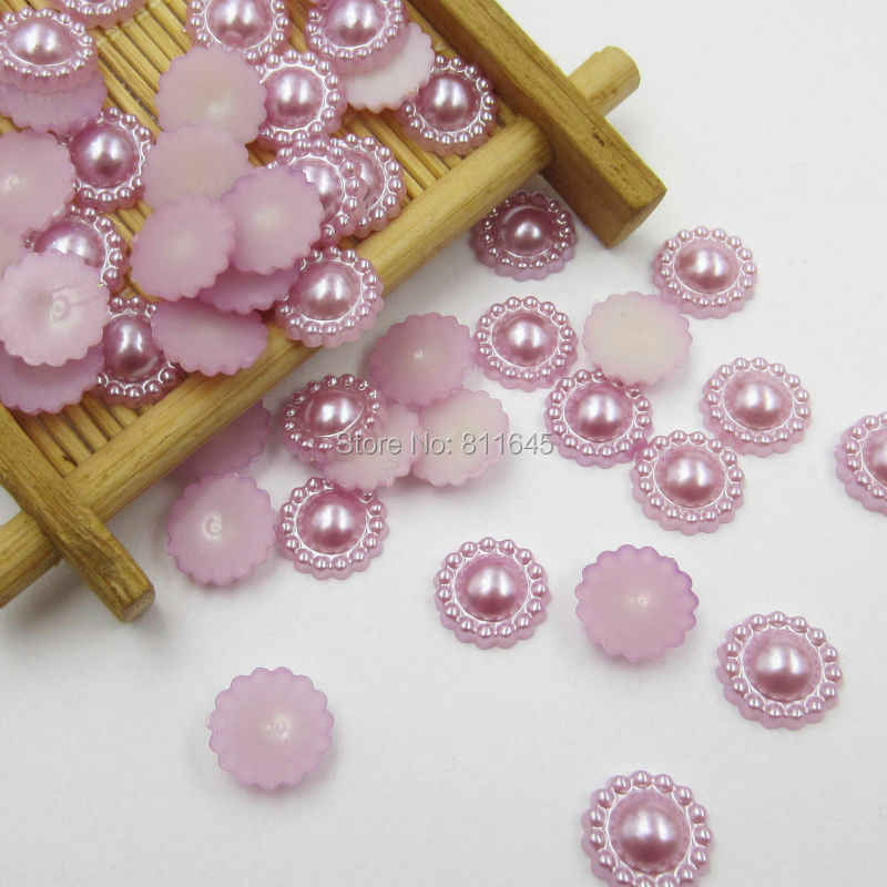 Warna campuran 100 pcs/lot 10mm Setengah Putaran ABS Imitasi Pearl Beads Palsu Bunga Matahari Perhiasan Datar Kembali Scrapbook Craft DIY temuan
