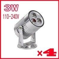 4pcs AC85 265V Warm White Warm 3W LED Spotlight Floodlight Outdoor Lighting Free Shipping