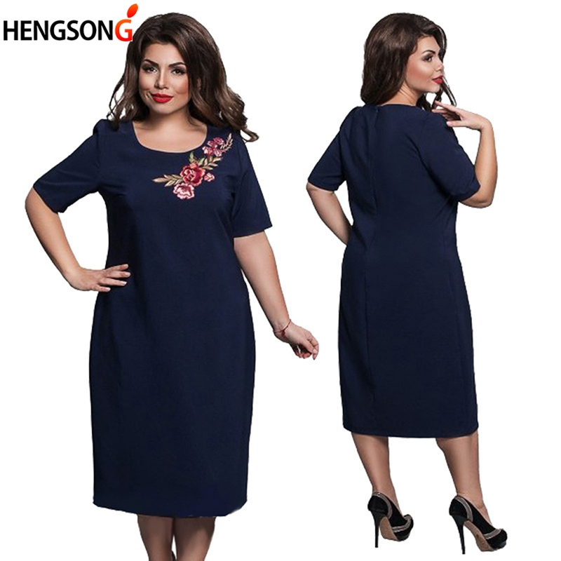 Womens Dress Plus Size 6XL Vintage Embroidered Office Work Dress Women Clothing Elegant Party Dresses vestidos