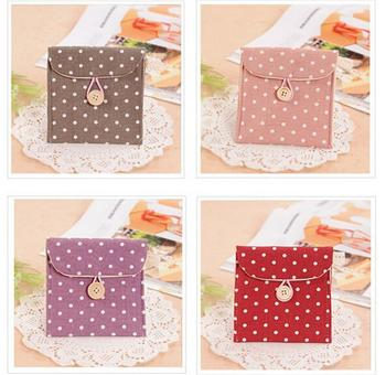 Velishy Hot Polka Dot Organizer Storage Female Hygiene Sanitary Napkins Package Small Cotton Bag Purse Case - discount item  30% OFF Special Purpose Bags
