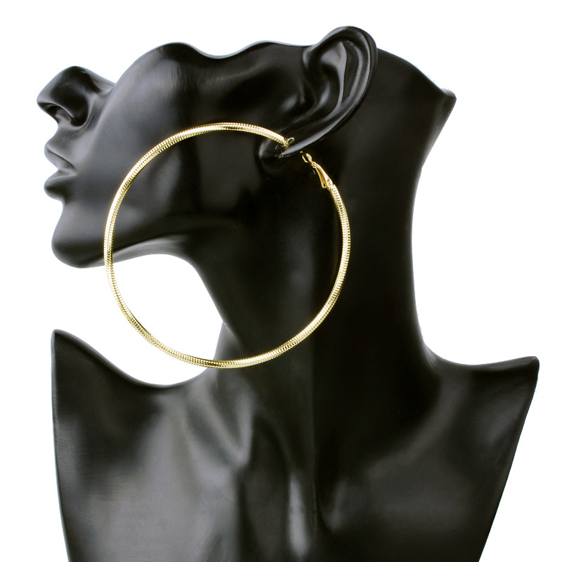 Big Hoop exaggerate Twist Rope Earrings Simple Gold Luxury Circle