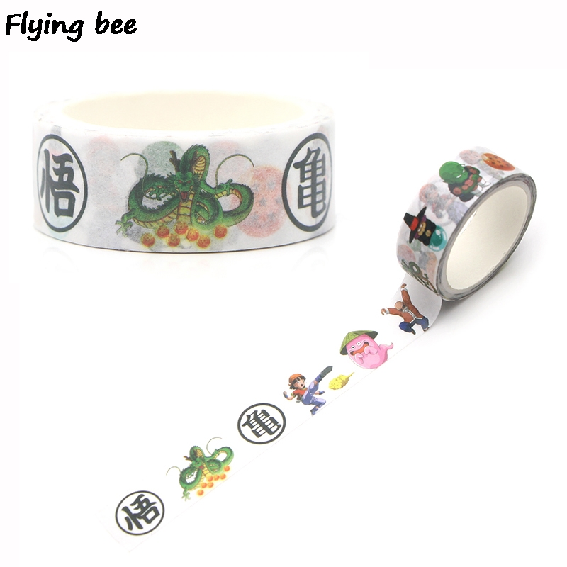 Flyingbee 15mmX5m Paper Washi Tape Dragonball Cool Adhesive Tape DIY Scrapbooking Sticker Label Masking Tape X0259 in Office Adhesive Tape from Office School Supplies