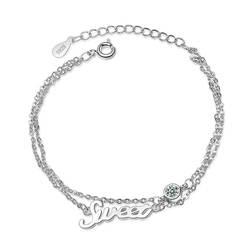 Романтические Драгоценности сладкие девочки браслет серебро 925 пробы для свиданий вечерние серьги цепь из циркония ссылка браслет подарок