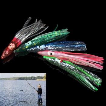 5 unids/pack 8cm colorido conjunto de Señuelos de Pesca cebos de pulpo Combo calamar señuelo falda Trolling cebo cebos blandos para pesca