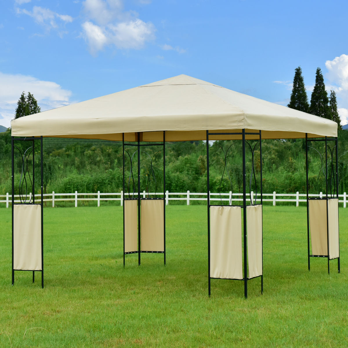 Goplus 10'X10' Gazebo Canopy Shelter Patio Wedding Party Tent Outdoor Awning Portable Garden Canopy Tent OP3180 yp80100 80x100cm 80x200cm 80x300cm clear window awning diy overhead door canopy decorator patio cover