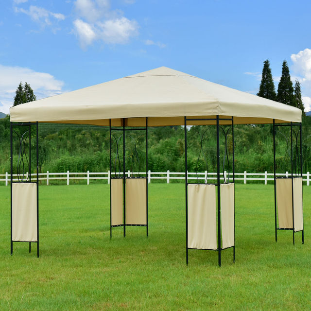 Goplus 10u0027X10u0027 Gazebo Canopy Shelter Patio Wedding Party Tent Outdoor  Awning Portable Garden