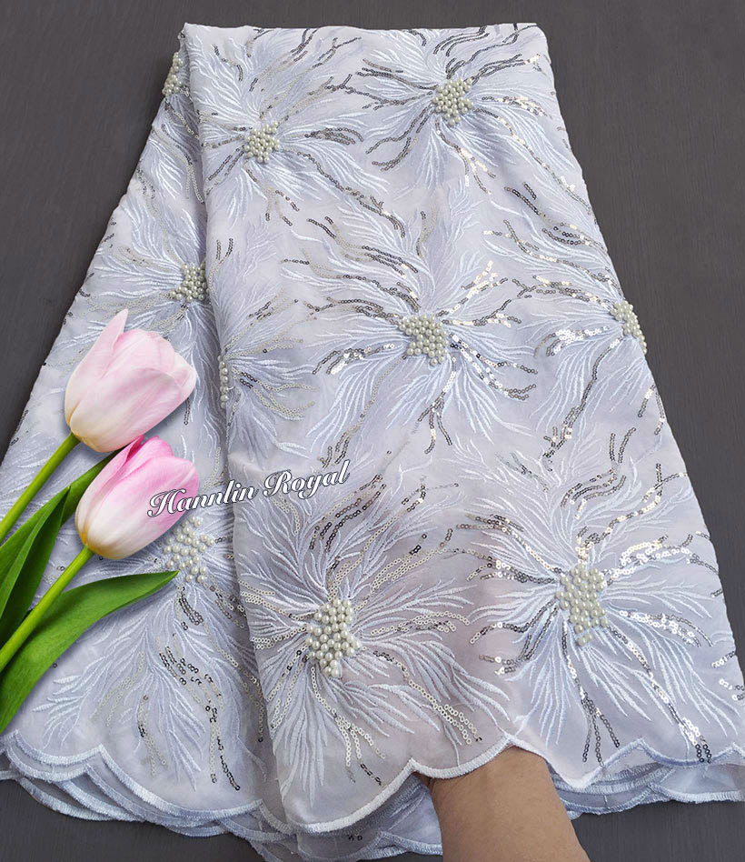 pure white Beaded embroidery African Swiss lace voile fabric super soft Nigerian sewing dress high quality 5 yards good choice