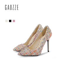 GAOZZE Fashion High Heels Pumps Party Women Shoes 2018 Spring New Colorful Woven Cloth 10cm Sexy Pointed Toe Heels Shallow Mouth