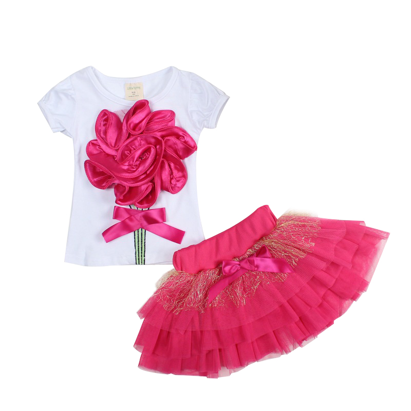 2017 Summer Baby Girls Clothing Flower Tops And Tutu Skirts 2Pcs Baby Set Newborn Baby Girl Clothes Infant Girls Sport Suit