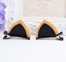 2017 New arrival Cute Girls hair clips lovely cartoon cat ears design clamps Stereo double Orecchiette hairpins 1 pair