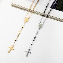 Ожерелье из нержавеющей стали с подвеской крестом Овальный Кулон