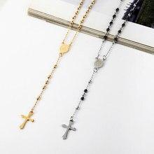26e91d4ef2fe 3mm Oval Rosario Cruz colgante collar de acero inoxidable Jesús Centro  Católica Cristiana religión joyería