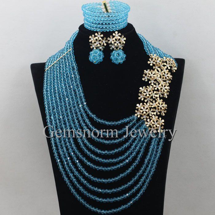 Fantastic Teal Blue Nigerian African Jewelry Sets Wedding Indian Costume Beads Necklace Set Free Shipping WA132 00 gauge acrylic teal blue marble pattern double flare tunnel 1 piece