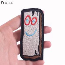 Prajna DIY Wood Brick Iron On Patches Embroidered For Clothing Appliques Gremlins Character Patch Clothes Kids Badges