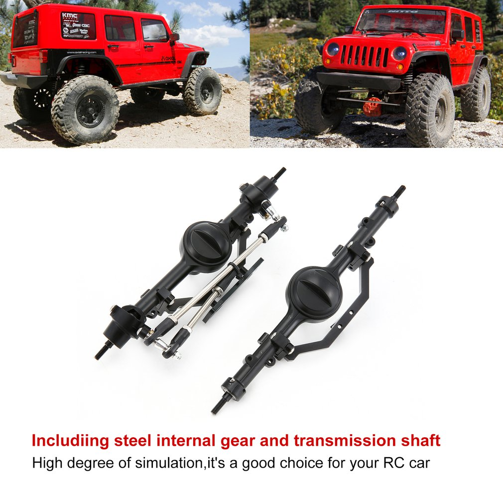 Axle Gear Set Vehicle Mould Fittings Bridge Shell Metal Alloy Front And Rear Axles Set For RC Crawler Car D90 Axial SCX10