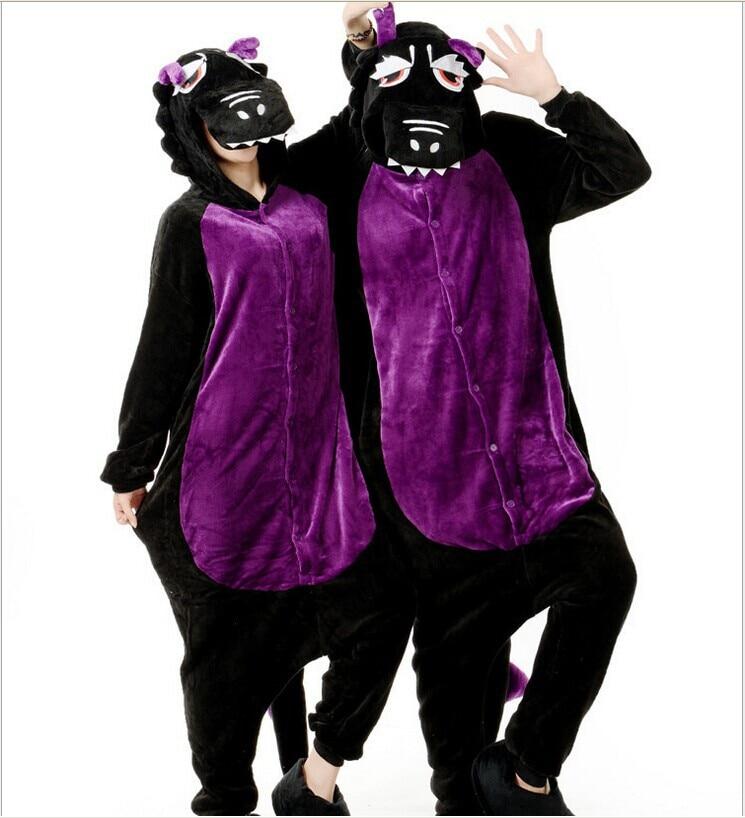 Hommes dames noir et violet dessin animé adulte animaux Onesies Onsie Pyjamas Pyjamas combinaisons C009 S/M/L/XL