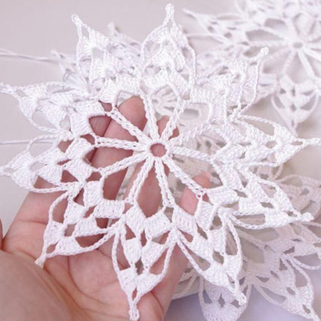 Crochet snowflakes Hanging winter decorations Crochet ornament White ...