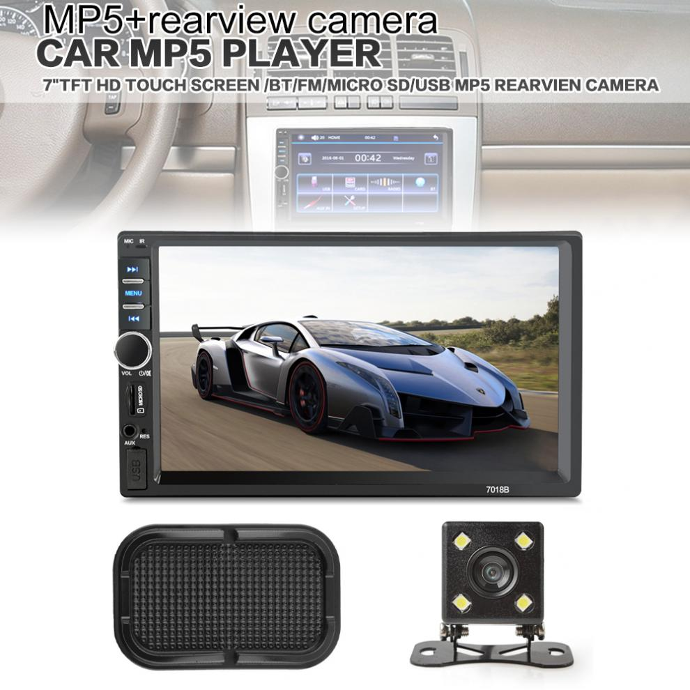 7'' 2 Din Bluetooth Car MP5 Video Player In Touch Screen Support MP3 USB TF AUX FM +Rear View Camera +Car Anti-slip Phone Holder image