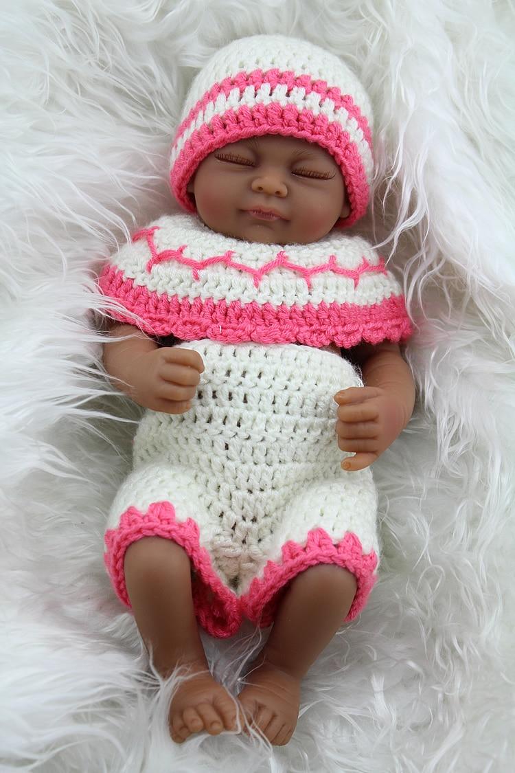 African American Reborn Baby Girl Doll Full Vinyl Bebe Toys Preemie