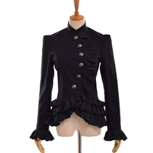 Retro Style Women Victorian Jacket Steampunk Bottons Ruffles Falbala Slim Gothic Costume